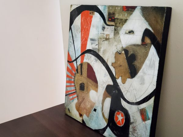 Forget your perfect offering. An abstract mixed media painting by Kathryn Gruber