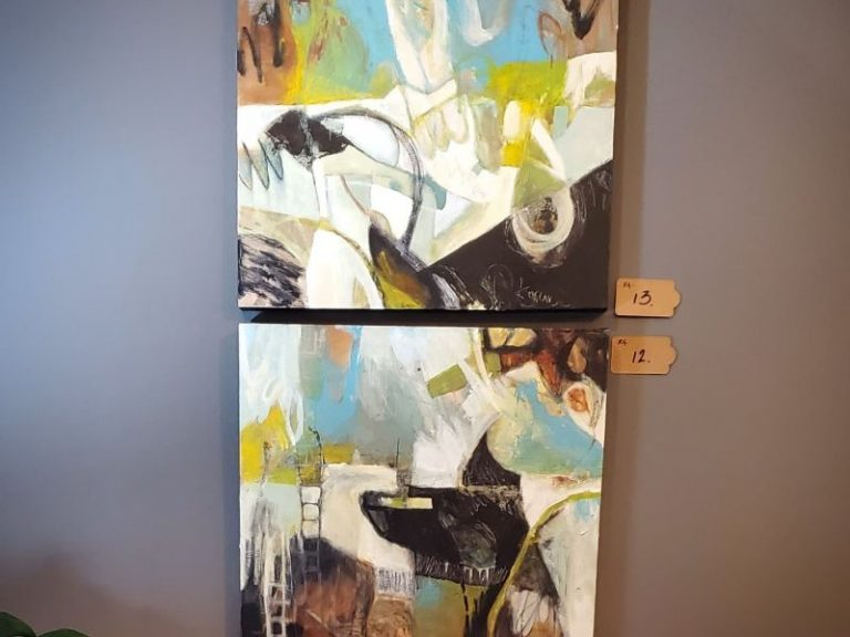 Abstract art Blue yellow and black by Kathryn Gruber