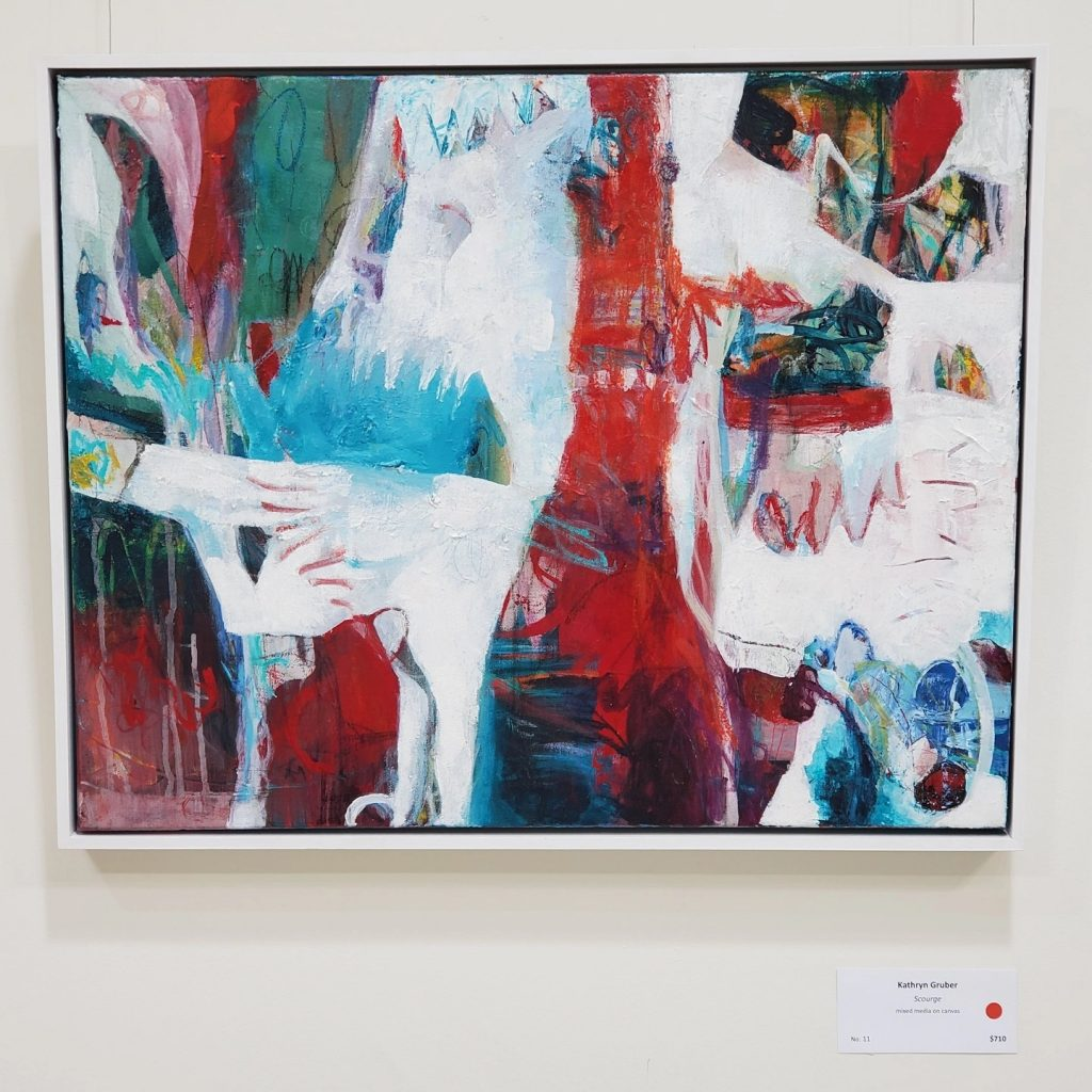 Abstact painting by Kathryn Gruber in Red, blue, green and white.