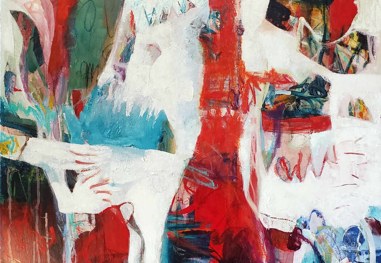 An abstract painting with loose strokes and lots of texture. Main colours are red, blue, green and white.