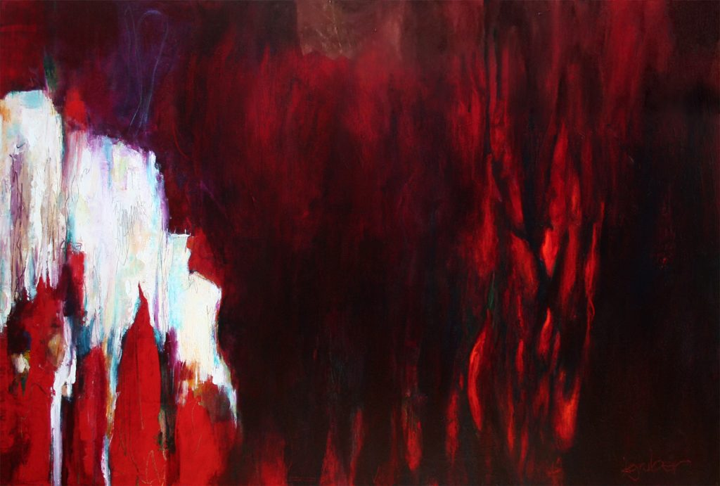 Red and white abstract painting by Kathryn Gruber